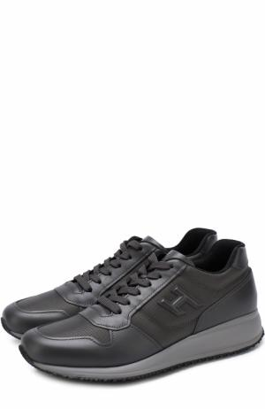 Комбинированные кроссовки на шнуровке Hogan. Цвет: серый