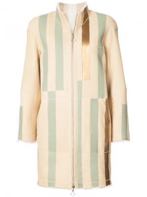 Пальто  в полоску Sprung Frères. Цвет: телесный