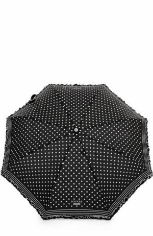 Складной зонт в горох Moschino. Цвет: черный
