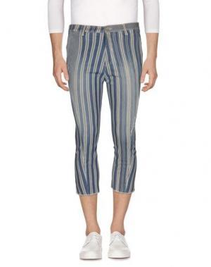 Джинсовые брюки-капри DANIELE ALESSANDRINI. Цвет: синий