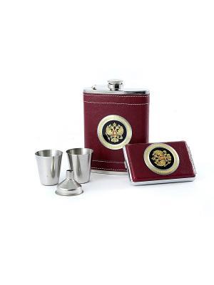 Подарочный набор Герб России: фляжка 230мл, портсигар, 2 стаканчика, воронка Русские подарки. Цвет: бордовый