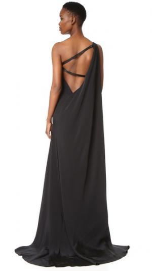 Вечернее платье с открытым плечом KAUFMANFRANCO. Цвет: оникс