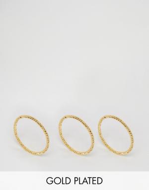 Gorjana Набор из 3 колец с витым дизайном. Цвет: золотой