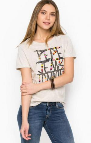 Хлопковая футболка с вышивкой и принтом Pepe Jeans. Цвет: бежевый