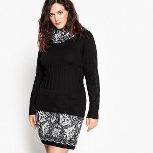 Платье-пуловер средней длины, однотонное, с длинными рукавами CASTALUNA. Цвет: черный