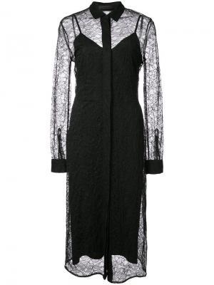 Кружевное платье-рубашка Jenni Kayne. Цвет: чёрный