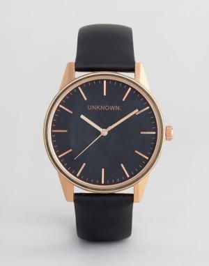 UNKNOWN Классические часы цвета розового золота с черным кожаным ремешком UNKN. Цвет: черный