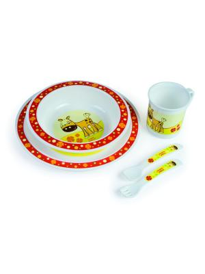 Набор обеденный пластиковый, 12м+, цвет: красный Canpol babies. Цвет: красный, желтый, белый