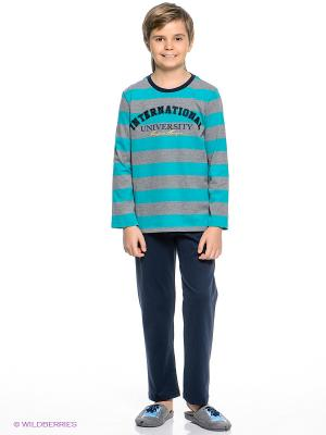 Пижама Sanetta. Цвет: темно-синий, бирюзовый, серый