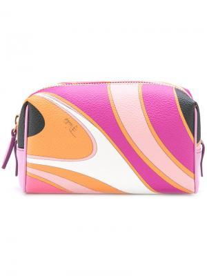 Косметичка с абстрактным принтом Emilio Pucci. Цвет: розовый и фиолетовый
