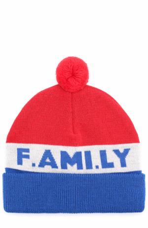 Шерстяная шапка с помпоном Ami. Цвет: разноцветный