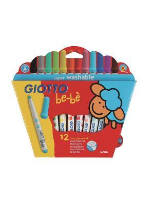 Giotto BEBE Super Fibre Pens  12цв. Детские фломастеры с толстым стержнем FILA. Цвет: желтый, голубой, красный