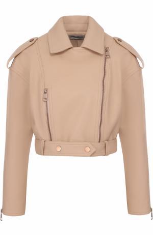 Укороченная кожаная куртка с косой молнией Vika Gazinskaya. Цвет: розовый