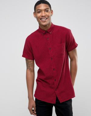 Jack & Jones Рубашка с короткими рукавами. Цвет: красный