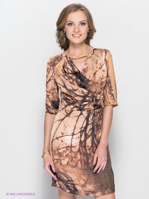Платье FRENCH HINT. Цвет: коричневый, бежевый
