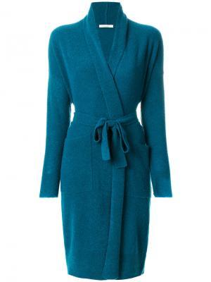 Кардиган-пальто с поясом Mes Demoiselles. Цвет: синий