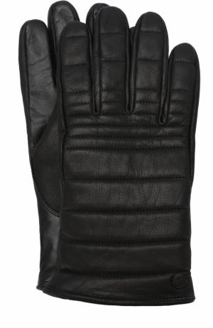Утепленные кожаные перчатки Canada Goose. Цвет: черный
