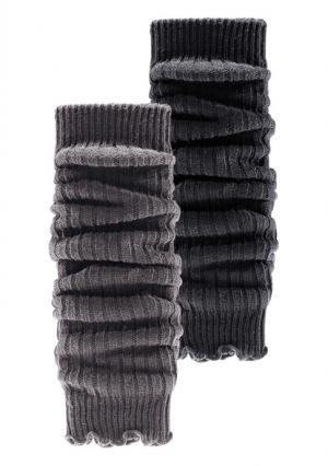 Гетры или митенки, 2 пары. Цвет: темно-синий+красный, черный+бежевый, черный+серый меланжевый