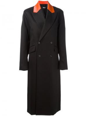 Двубортное пальто с заостренными лацканами Yang Li. Цвет: чёрный