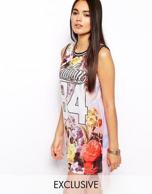 Ichiban Цветочное платье-майка с принтом студенческой сборной номерoм Ichiba. Цвет: мульти