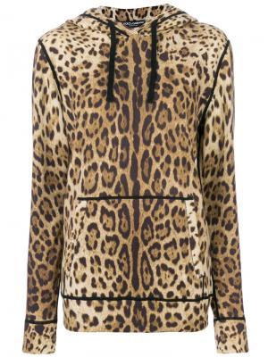 Кашемировая толстовка с леопардовым принтом Dolce & Gabbana. Цвет: коричневый