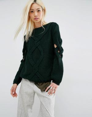 Oneon Джемпер ручной вязки косичка с решетчатыми рукавами. Цвет: зеленый
