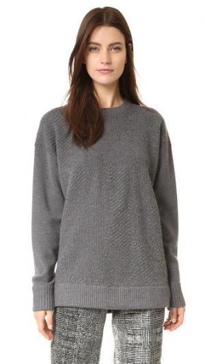 Свитер-пуловер из плиссированного материала Jason Wu. Цвет: темный кремень меланж