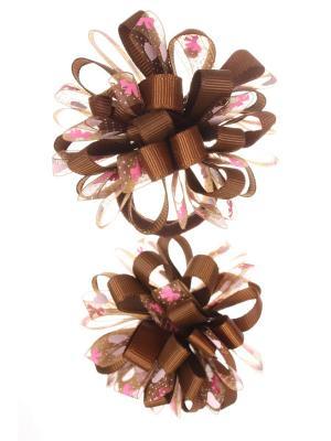Банты из ленты на резинке в сердечко-бантик, коричневый, набор 2 шт Радужки. Цвет: коричневый