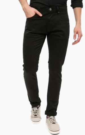 Зауженные черные брюки из хлопка ALCOTT. Цвет: черный