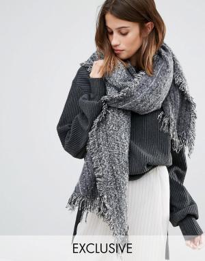 Stitch & Pieces Однотонный длинный шарф с необработанными краями. Цвет: черный