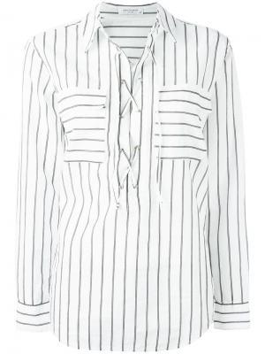 Полосатая рубашка со шнуровкой Equipment. Цвет: белый