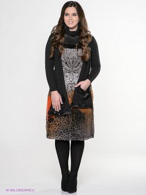 Платье Amelia Lux. Цвет: черный, серый, оранжевый