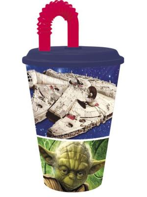 Стакан пластиковый с соломинкой и крышкой (спортивный, 430 мл). Звёздные войны Классика Stor. Цвет: оранжевый, синий