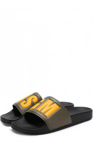 Резиновые шлепанцы с логотипом бренда MSGM. Цвет: хаки
