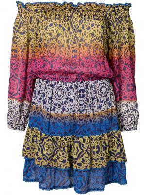 Платье с заниженной линией плеч Nicole Miller. Цвет: многоцветный