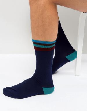 Paul Smith Темно-синие носки с полосками Artist. Цвет: темно-синий