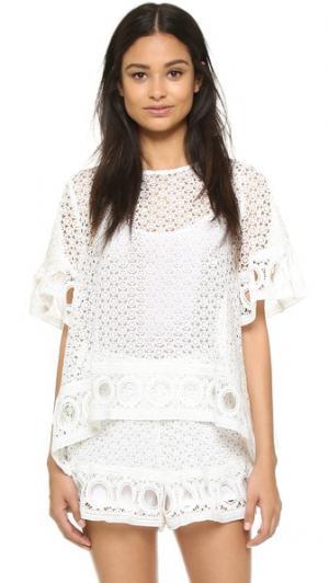 Кружевная блуза ENGLISH FACTORY. Цвет: оттенок белого