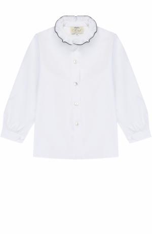 Хлопковая блуза с контрастной отделкой и воротником-стойкой Caf. Цвет: белый