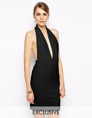 Solace Платье мини с глубоким вырезом и открытой спиной London Elora. Цвет: черный