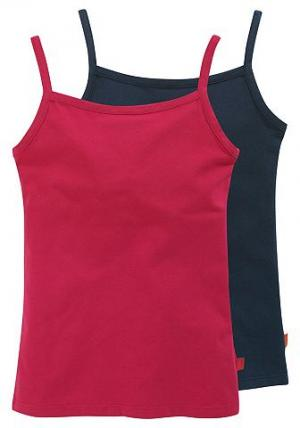 , топы для девочек в комплекте из 2 штук CFL. Цвет: синий морской + красный