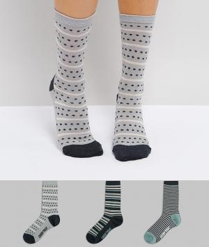 Green Treat Набор из 3 пар серых носков в полоску. Цвет: серый