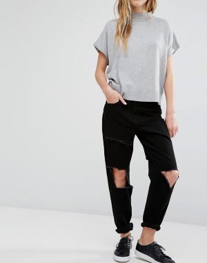 Waven Рваные джинсы бойфренда Aki. Цвет: черный