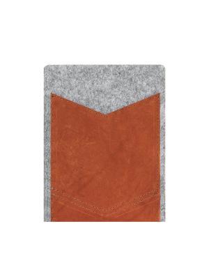 Чехол фетровый для планшета 8 дюймов с кожаным карманом IQ Format. Цвет: серый
