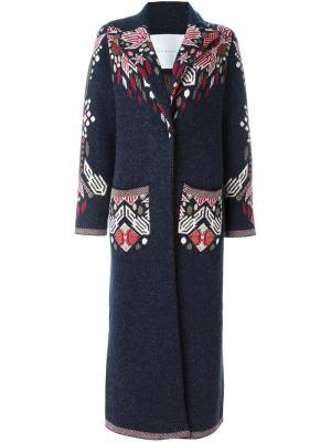 Длинное пальто с цветочным принтом Giada Benincasa. Цвет: синий
