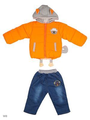 Куртка и брюки на синтепоне Happy Bear. Цвет: оранжевый, синий