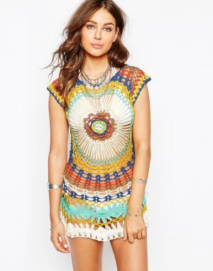 Spiritual Hippie Трикотажное пляжное платье с эффектом кроше. Цвет: мульти