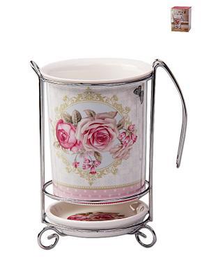 Подставка для столовых приборов 10,5*16см PATRICIA. Цвет: белый, розовый