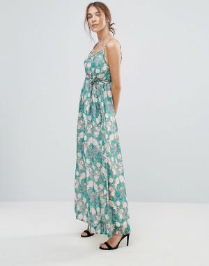 Uttam Boutique Платье макси с цветочным принтом. Цвет: зеленый