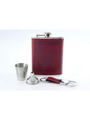 Подарочный набор: фляжка 230мл, стаканчик, брелок для ключей, воронка Русские подарки. Цвет: темно-красный