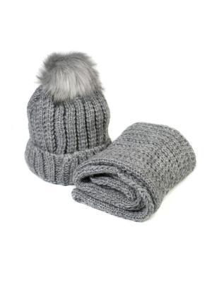 Комплект шапка и снуд Mitya Veselkov. Цвет: темно-серый